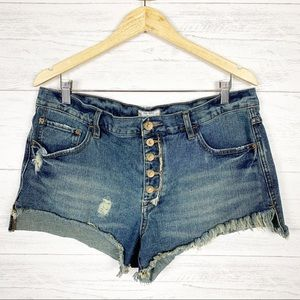 Free People • Button Fly Distressed Jean Shorts